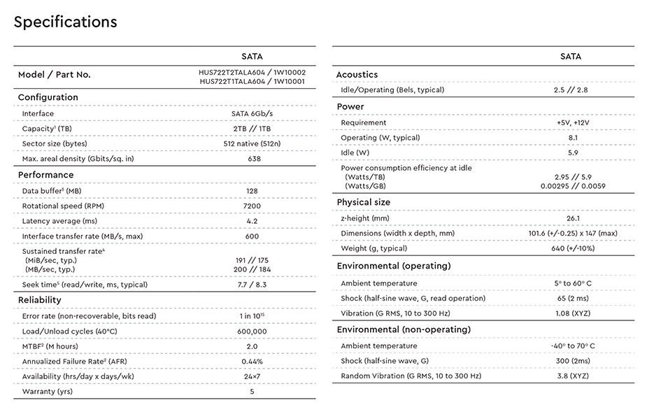 """WD HGST Ultrastar DC HA210 HUS722T2TALA604 2TB 3.5"""" 512n SATA3 Hard Drive - Desktop Overview 2"""