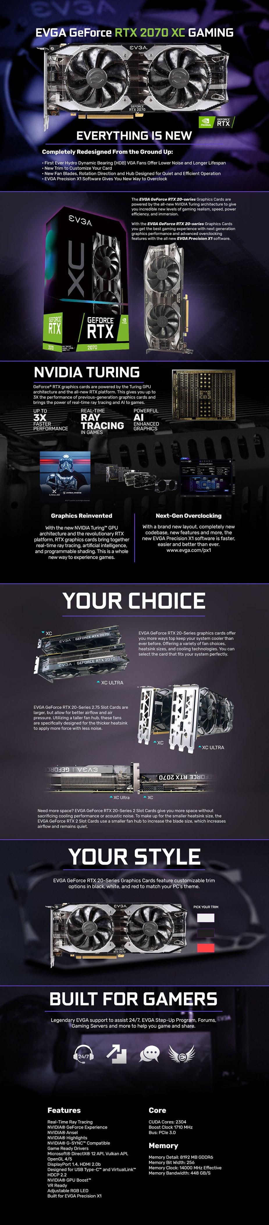 EVGA GeForce RTX 2070 XC GAMING 8GB Video Card - Desktop Overview 1