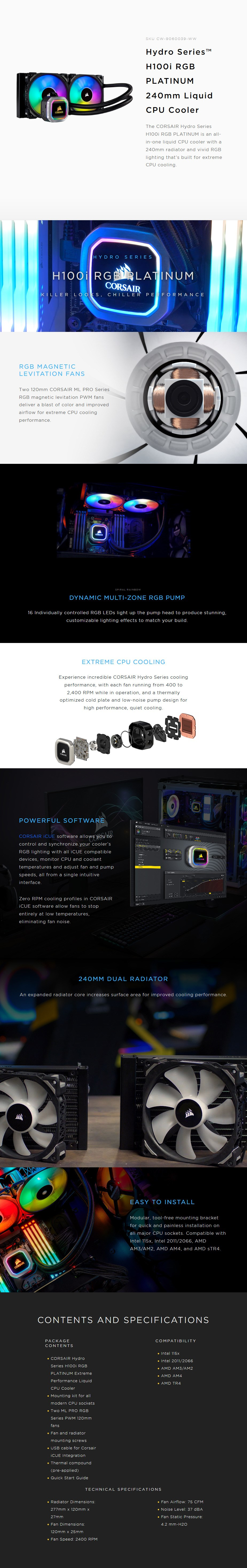Corsair Hydro Series H100i PLATINUM RGB 240mm All-in-One Liquid CPU Cooler Display Overview 1