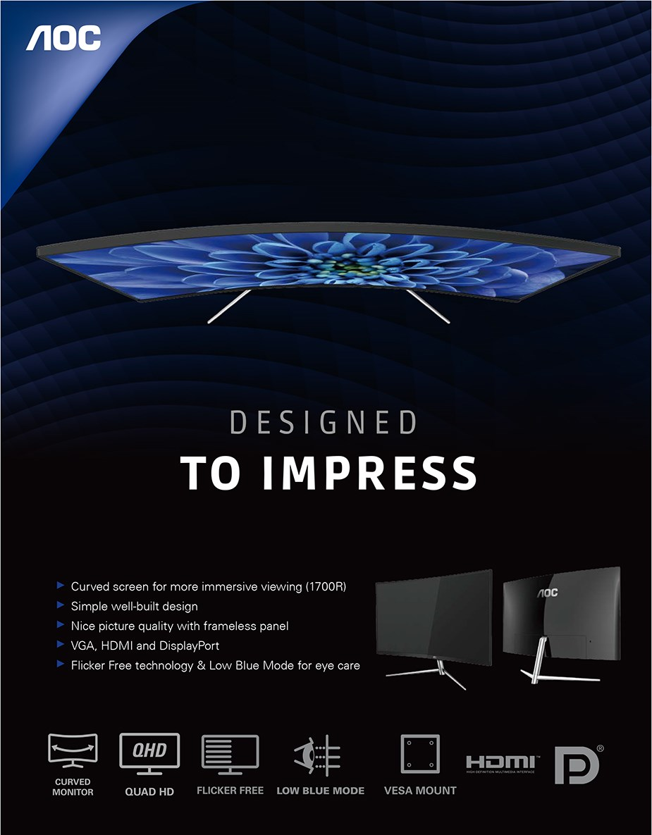 "AOC CQ32V1 31.5"" 75Hz QHD Curved Flicker-Free VA Monitor - Desktop Overview 1"