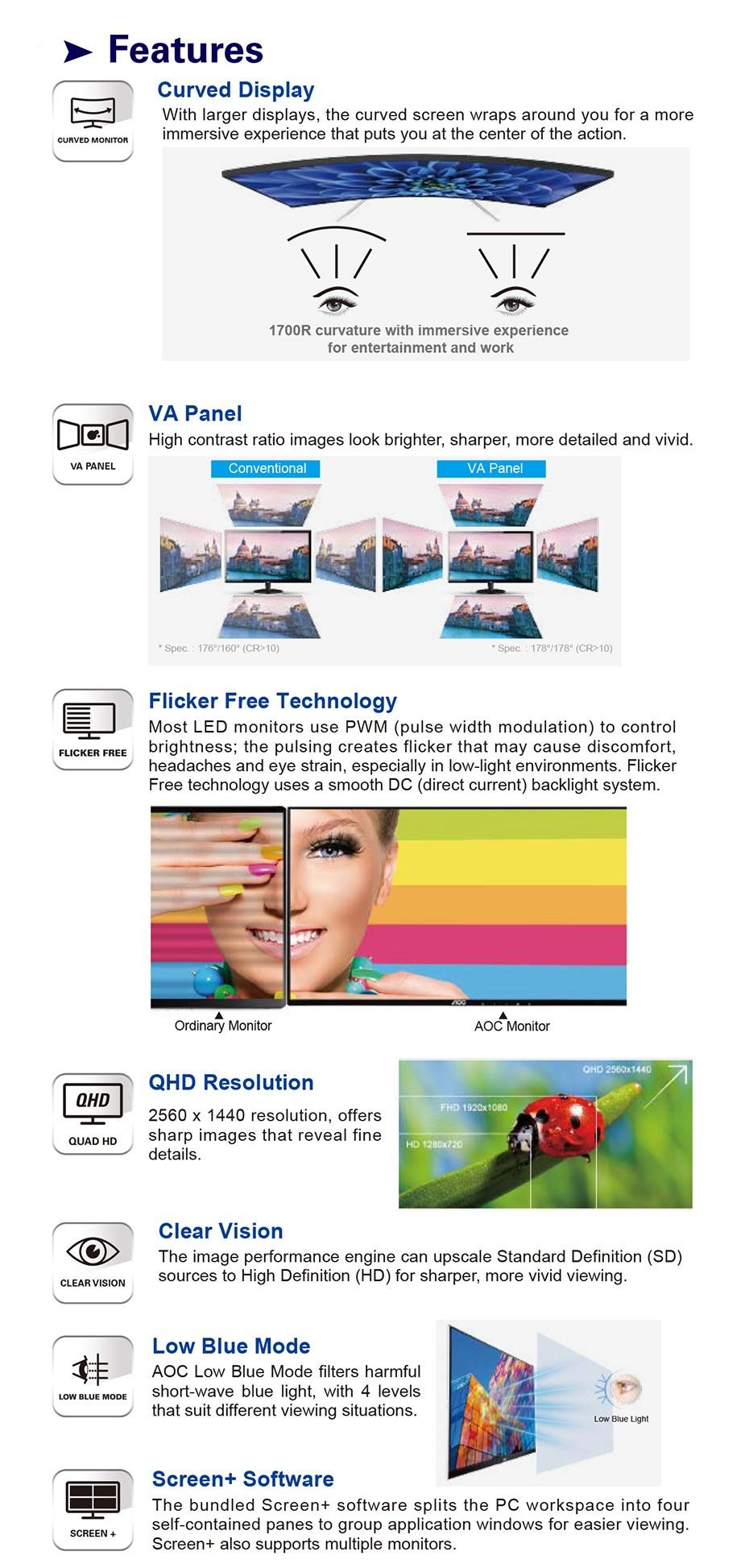 "AOC CQ32V1 31.5"" 75Hz QHD Curved Flicker-Free VA Monitor - Desktop Overview 2"