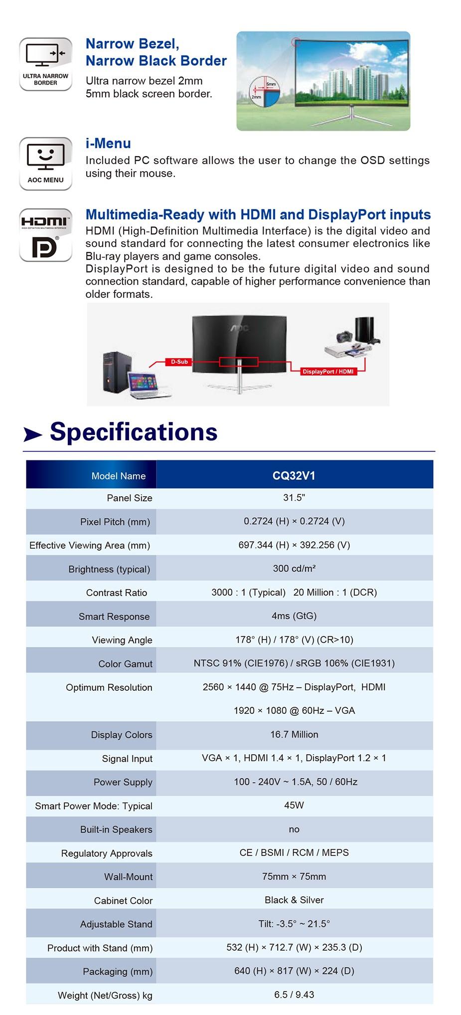 "AOC CQ32V1 31.5"" 75Hz QHD Curved Flicker-Free VA Monitor - Desktop Overview 3"