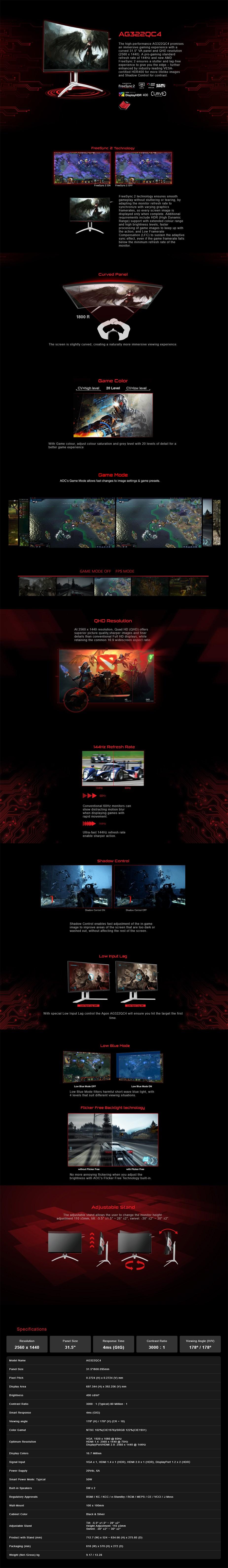 "AOC AGON AG322QC4 31.5"" 144Hz QHD VA FreeSync Gaming Monitor - Desktop Overview 1"