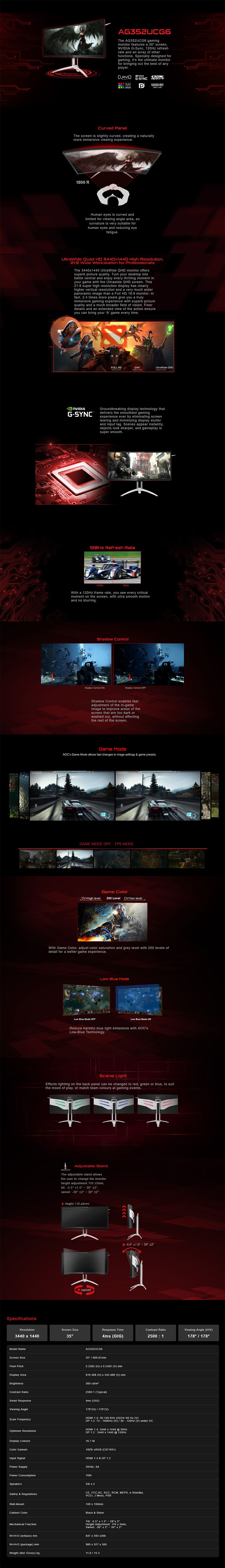 """AOC AGON AG352UCG6 35"""" 120Hz UltraWide QHD Curved G-Sync Gaming Monitor - Desktop Overview 1"""