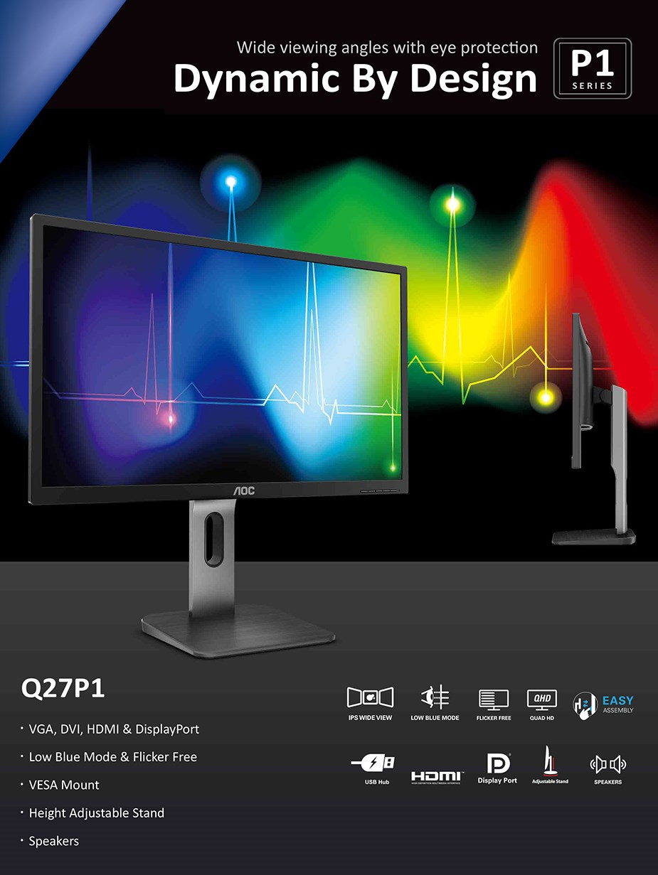"AOC Q27P1 27"" QHD Flicker-Free IPS Monitor - Desktop Overview 1"