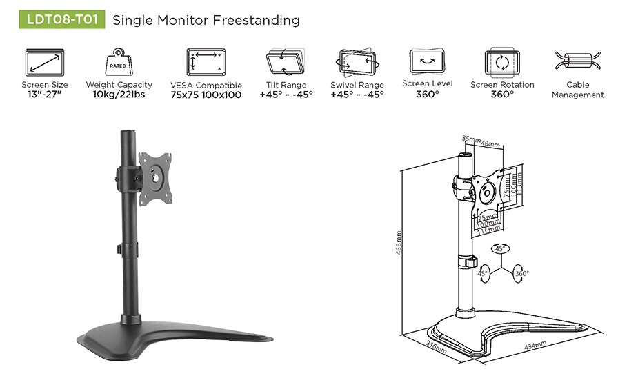 "Brateck LDT08-T01 Essential Single Monitor Desktop Stand 13""-27"" - Desktop Overview 1"