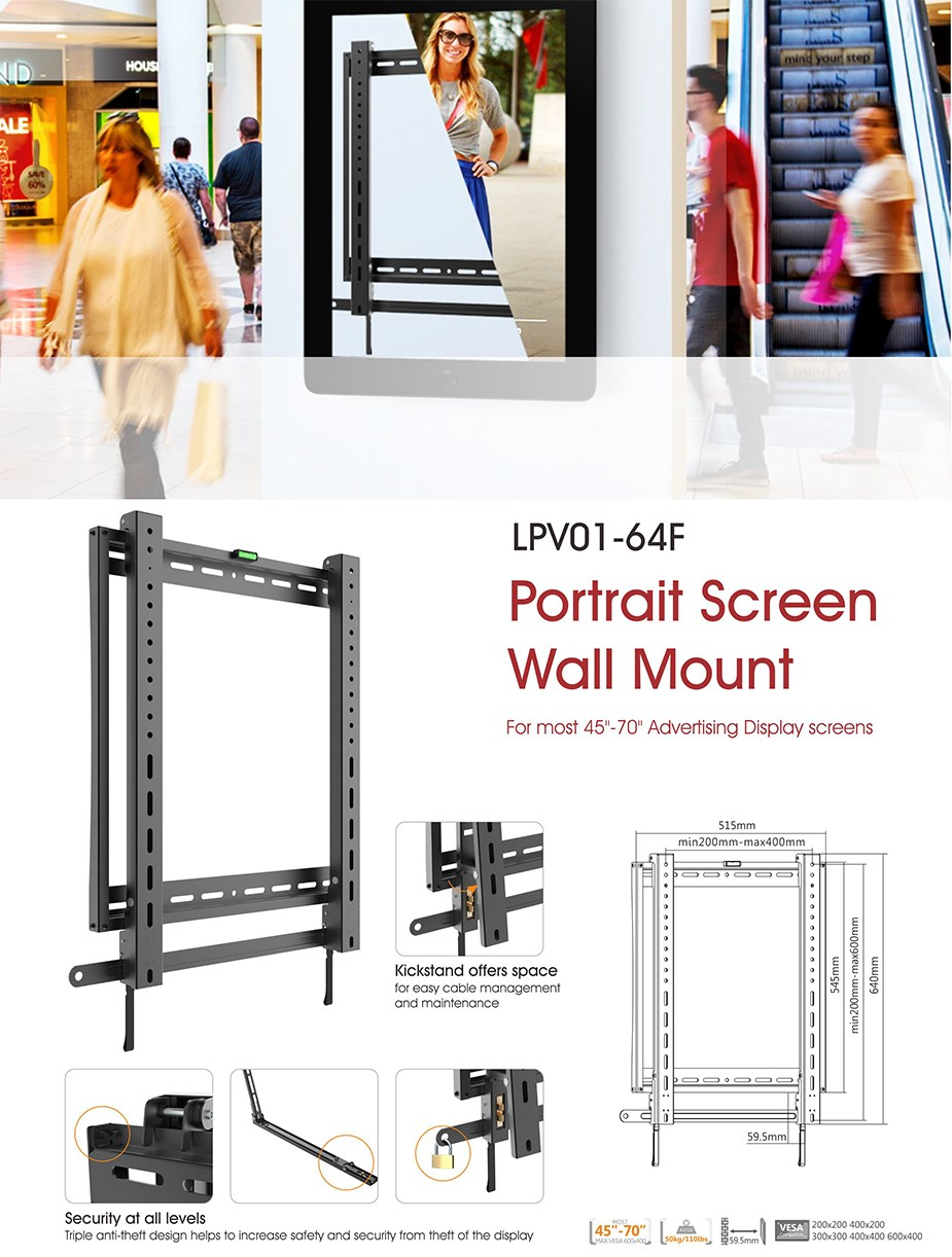 "Brateck LPV01-64F Portrait Scren Wall Mount for 45""-70"" Flat Panel TVs - Desktop Overview 1"