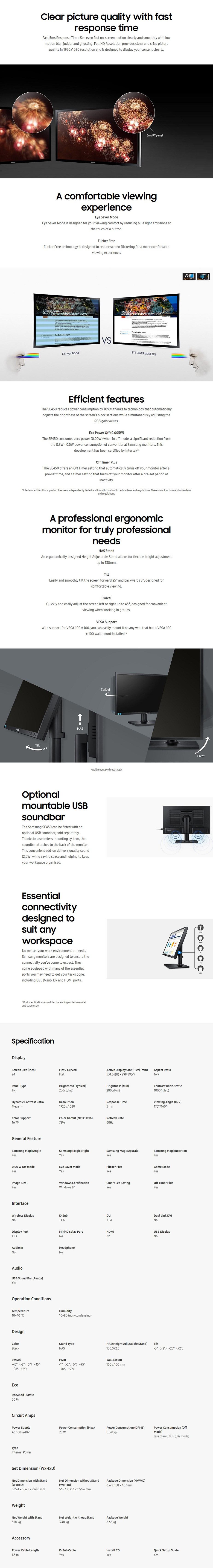 "Samsung SE450 24"" Full HD TN LED Monitor - Desktop Overview 1"