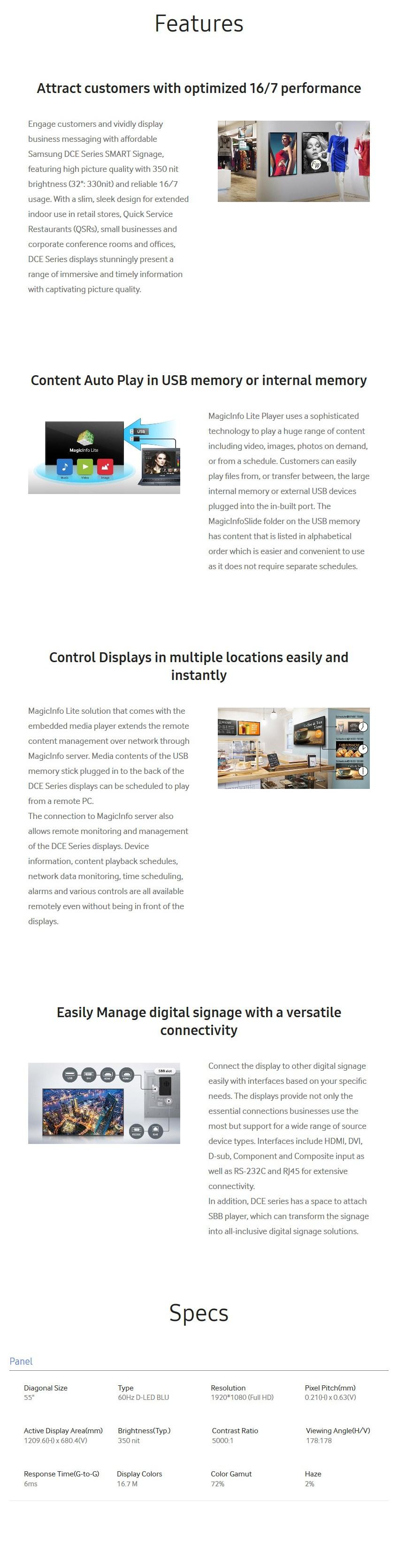"""Samsung DC55E 55"""" Full HD Direct LED Digital Signage - Desktop Overview 1"""