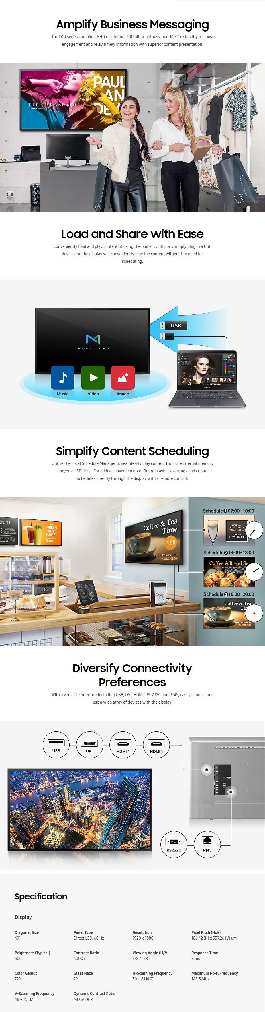 """Samsung DC Series 49"""" Full HD Direct LED Digital Signage - Desktop Overview 1"""