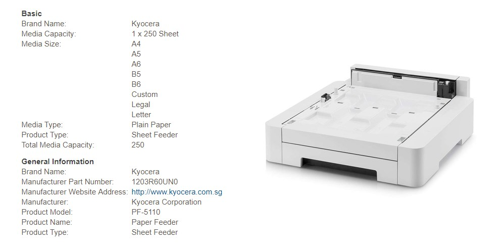 Kyocera PF-5110 Paper Feeder - Desktop Overview 1