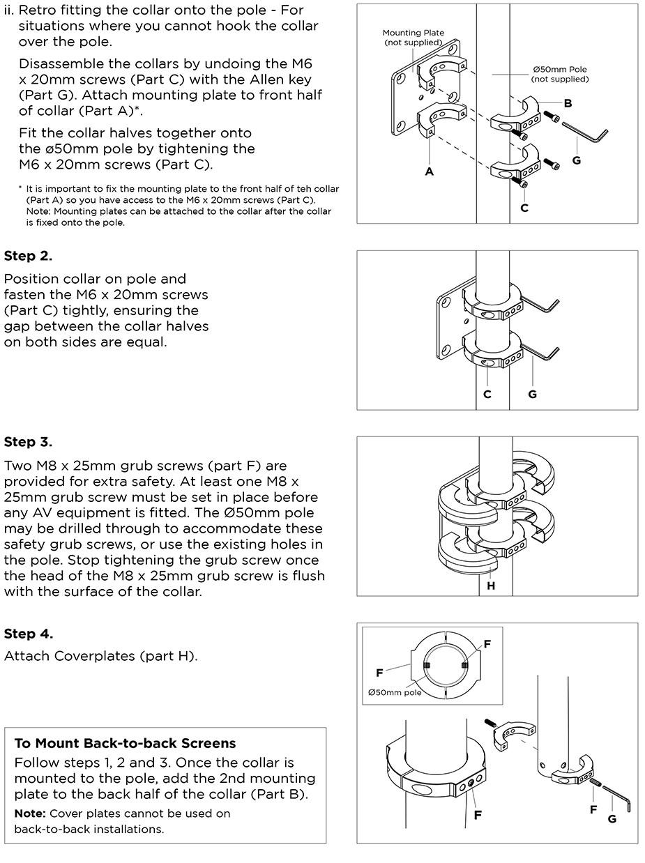 Atdec ADM-AC2 50mm Digital Signage Collar Mount - Desktop Overview 2