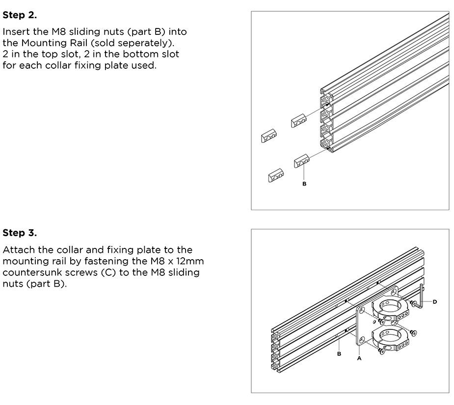 Atdec ADM-RCF Rail to Pole Collar Attachment Plate - Desktop Overview 2
