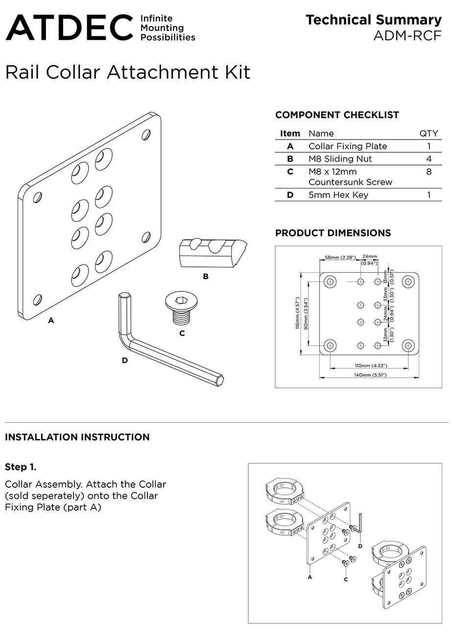 Atdec ADM-RCF Rail to Pole Collar Attachment Plate - Desktop Overview 1
