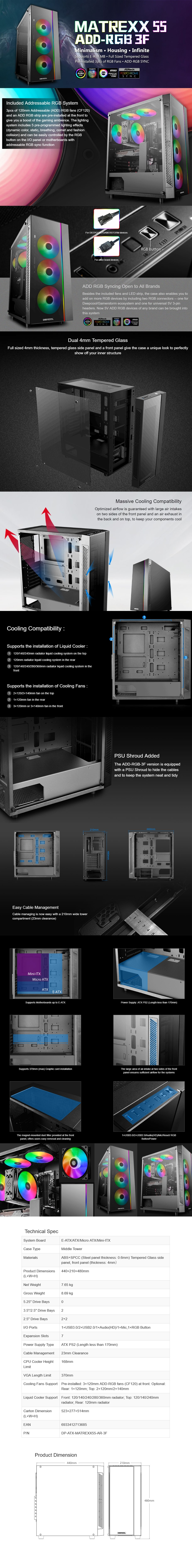 Deepcool Matrexx 55 ADD-RGB 3F Tempered Glass Mid-Tower E-ATX Case - Desktop Overview 1