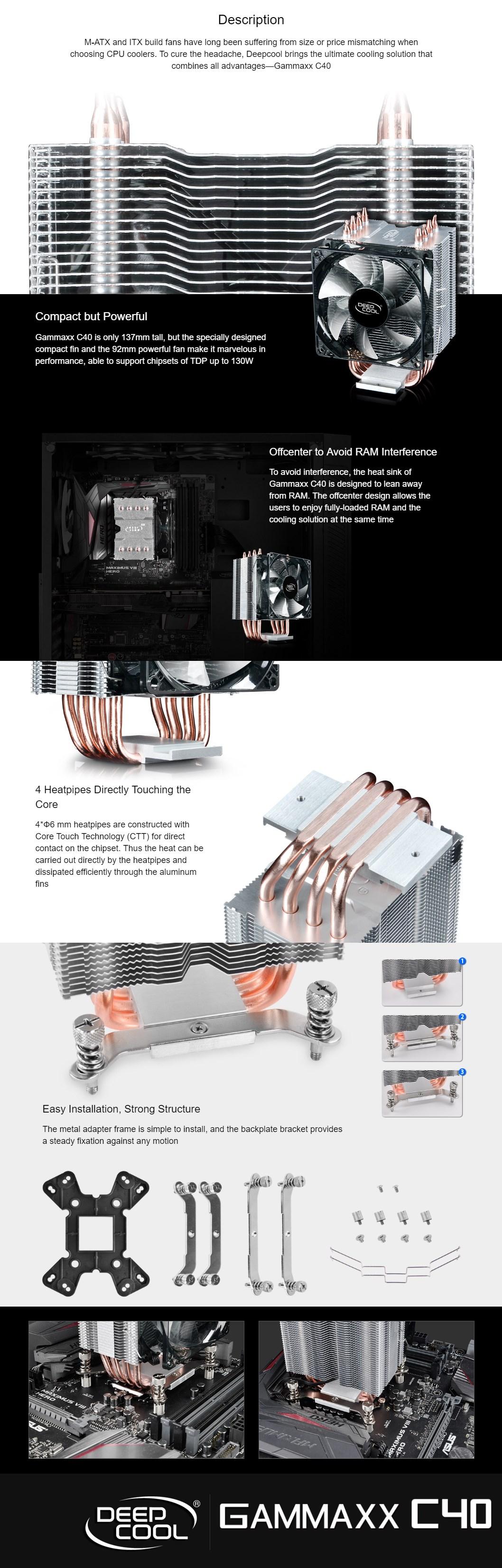 Deepcool Gammaxx C40 Multi-Socket CPU Cooler - Desktop Overview 2