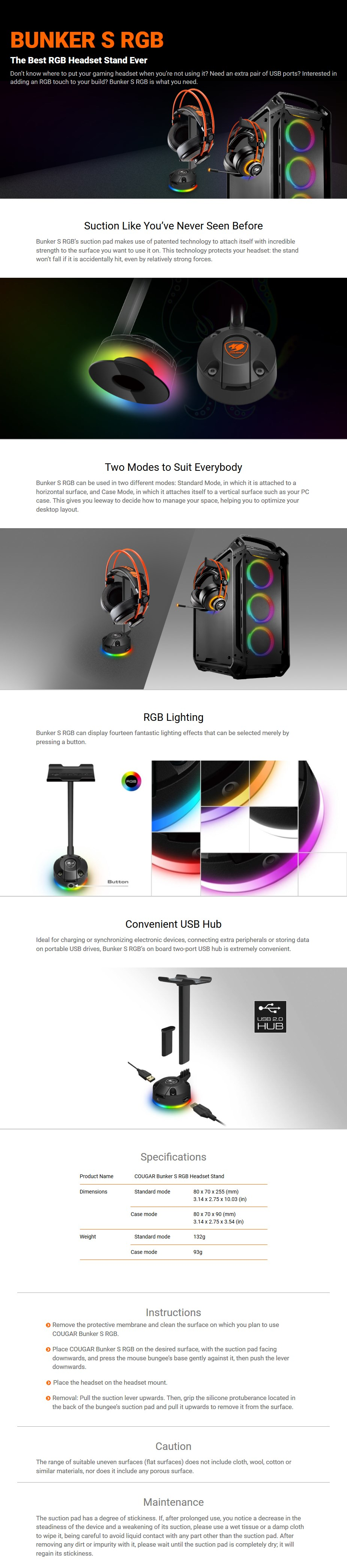 Cougar Bunker S RGB Headset Stand - Desktop Overview 1