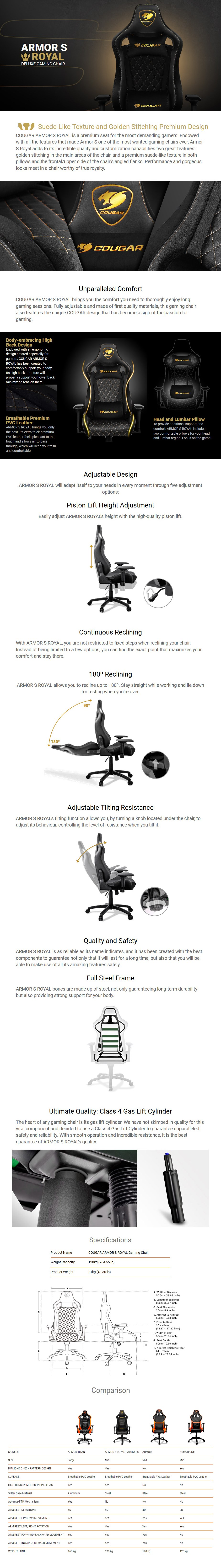 Cougar Armour S Royal Deluxe Gaming Chair - Desktop Overview 1