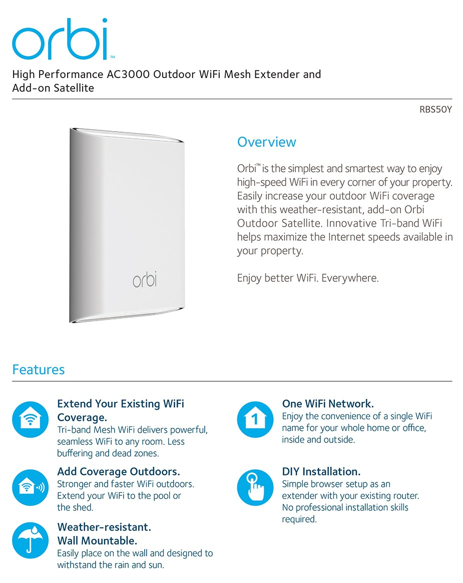 Netgear Orbi AC3000 Outdoor Tri-Band WiFi Mesh Extender & Add-on Satellite - Desktop Overview 1