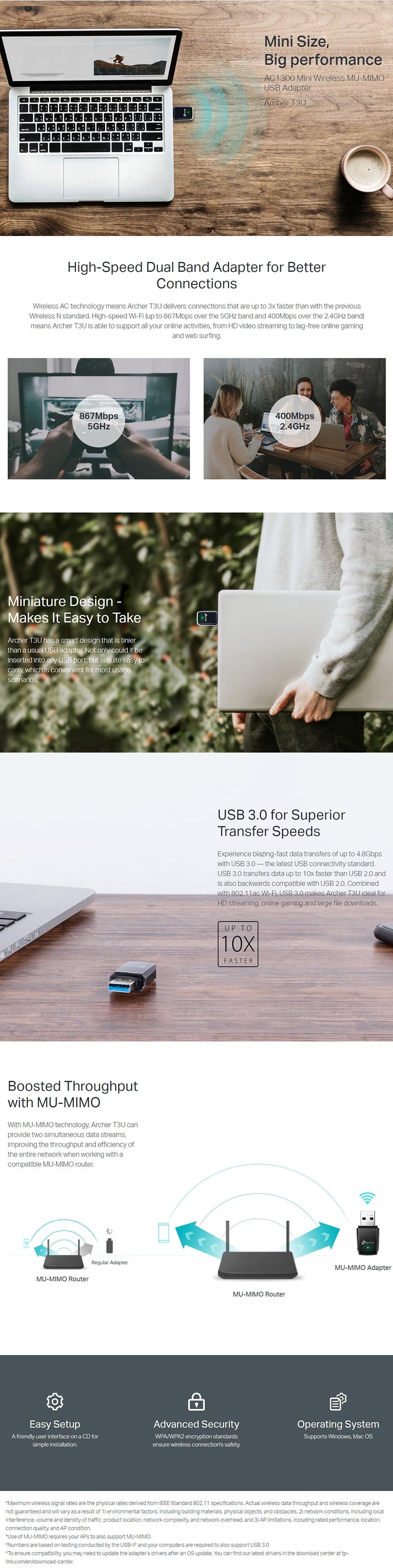 TP-Link Archer T3U AC1300 Mini Wireless MU-MIMO USB Adapter - Desktop Overview 1