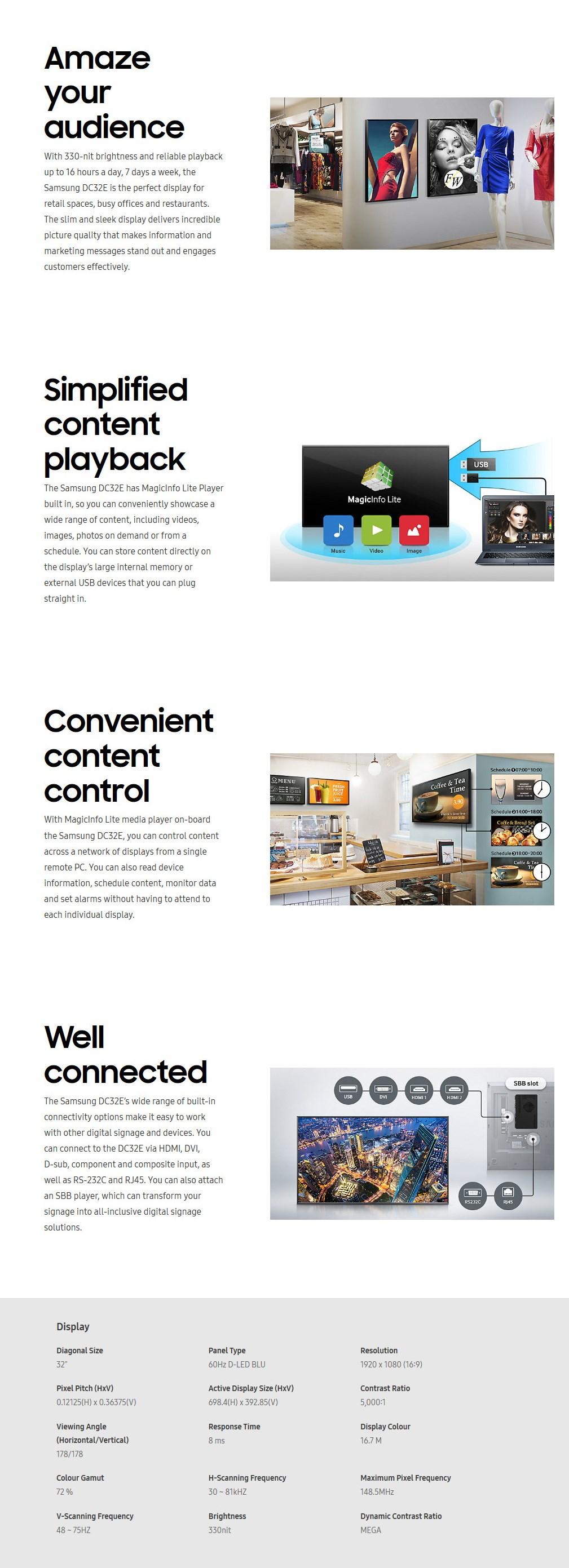 """Samsung DC32E 32"""" Full HD Direct LED Digital Signage - Desktop Overvew 1"""