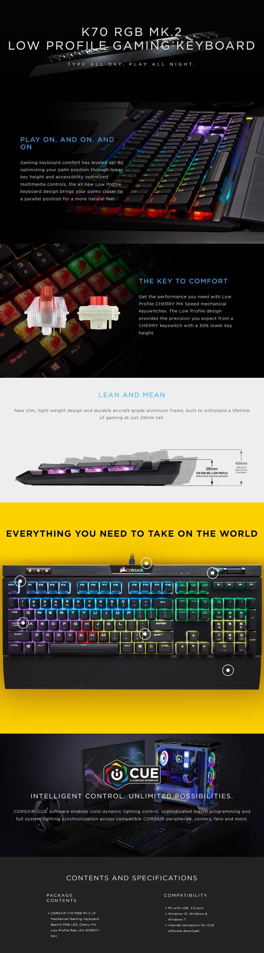 Corsair K70 RGB MK.2 Rapidfire Low Profile Gaming Keyboard - Desktop Overview 1