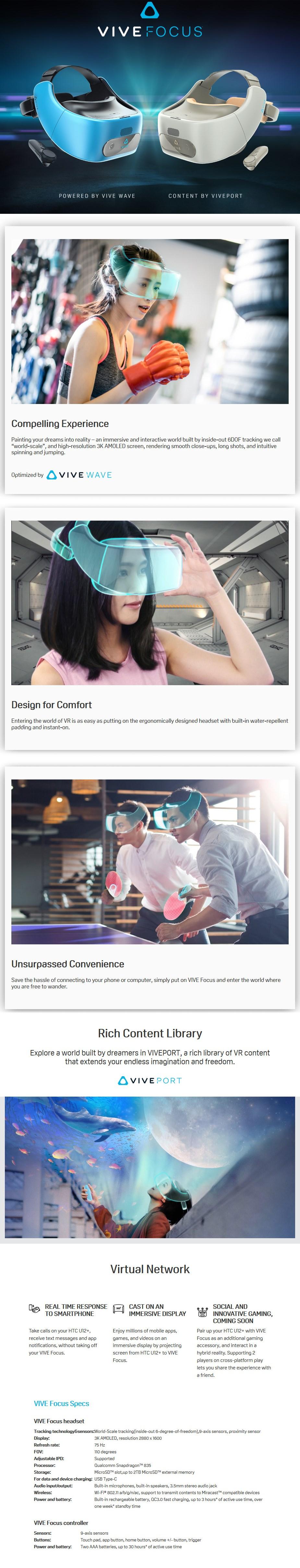 HTC Vive Focus 3K AMOLED Virtual Reality Headset - White - Desktop Overview 1