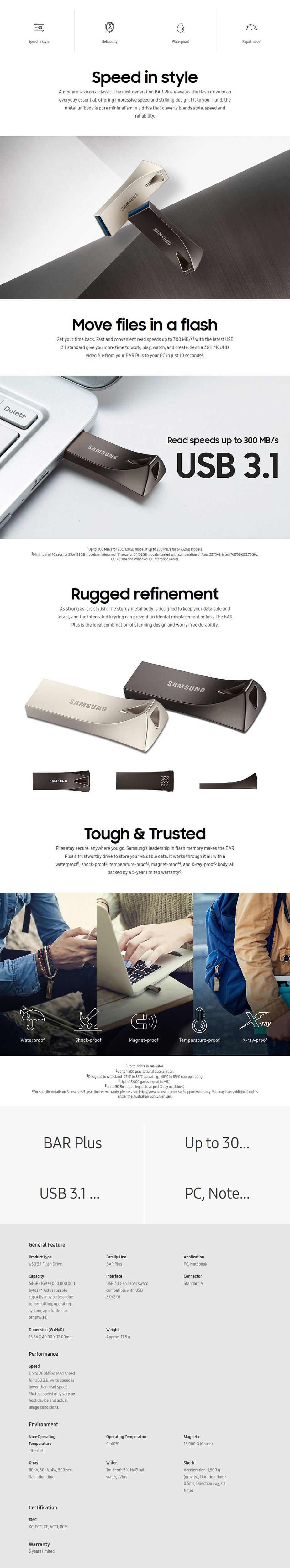 Samsung MUF-64BE4/APC 64GB USB 3.0 BAR Plus Flash Drive - Titan Gray - Desktop Overview 1