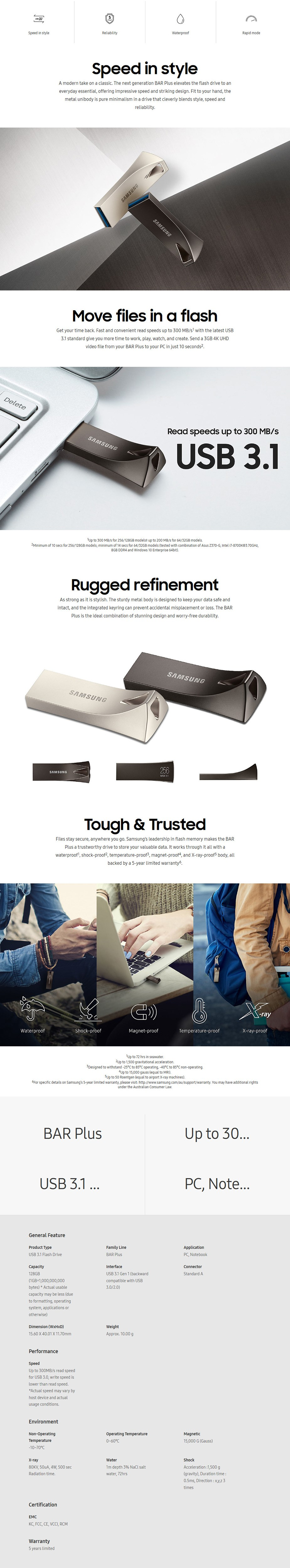 Samsung MUF-128BE4/APC 128GB USB 3.0 BAR Plus Flash Drive - Titan Gray - Desktop Overview 1