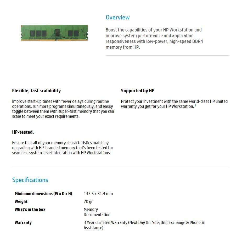 HP 16GB (1x 16GB) 2400MHz DDR4 nECC SO-DIMM Memory - Desktop Overview 1