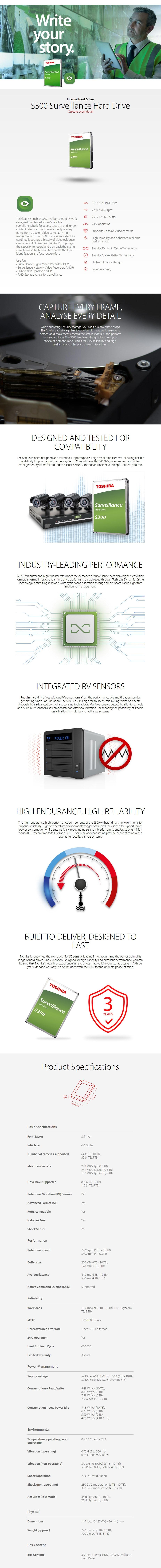 "Toshiba S300 HDWT380UZSVA Surveillance 8TB 3.5"" 7200RPM SATA3 INT Hard Drive - Desktop Overview 1"