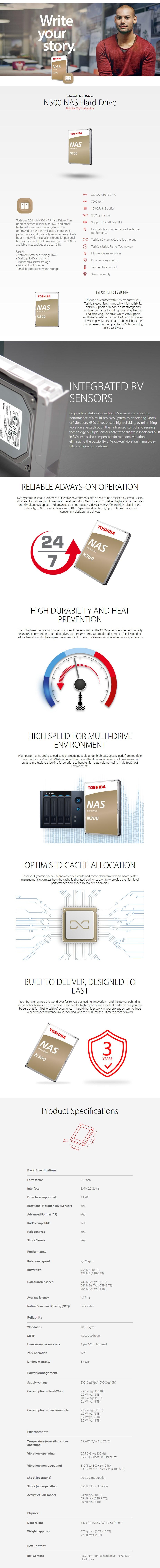 "Toshiba N300 HDWG11AUZSVA 10TB 3.5"" 7200RPM SATA3 NAS Hard Drive - Desktop Overview 1"