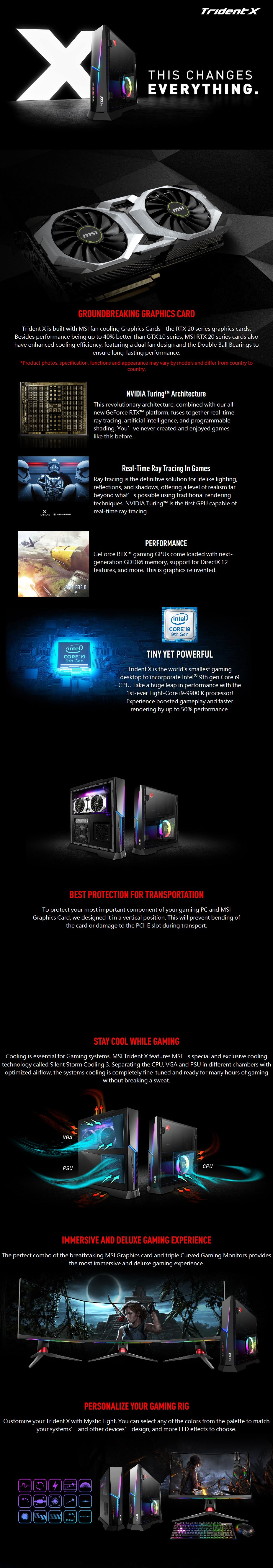 MSI Trident X 9th Compact Gaming PC i7-9700K 16GB 1TB+512GB RTX2070 Win10 Home - Desktop Overview 1