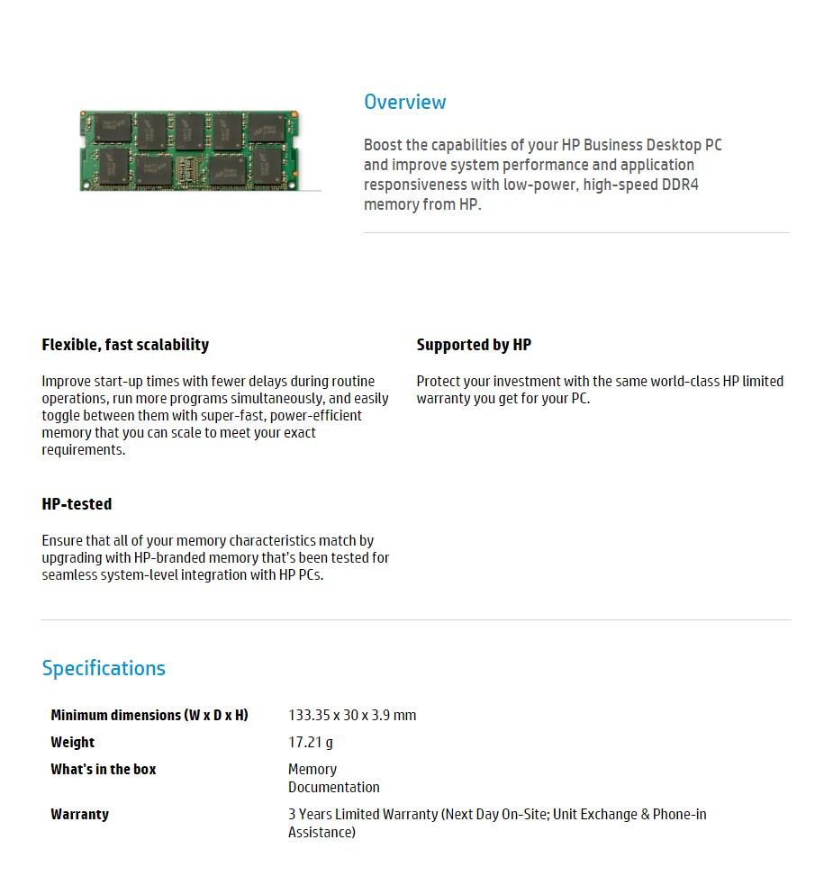 HP 8GB (1x 8GB) DDR4 2400MHz ECC Memory - Desktop Overview 1