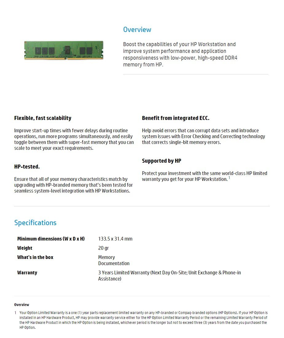 HP 8GB (1x 8GB) DDR4 2400MHz ECC SO-DIMM Memory - Desktop Overview 1