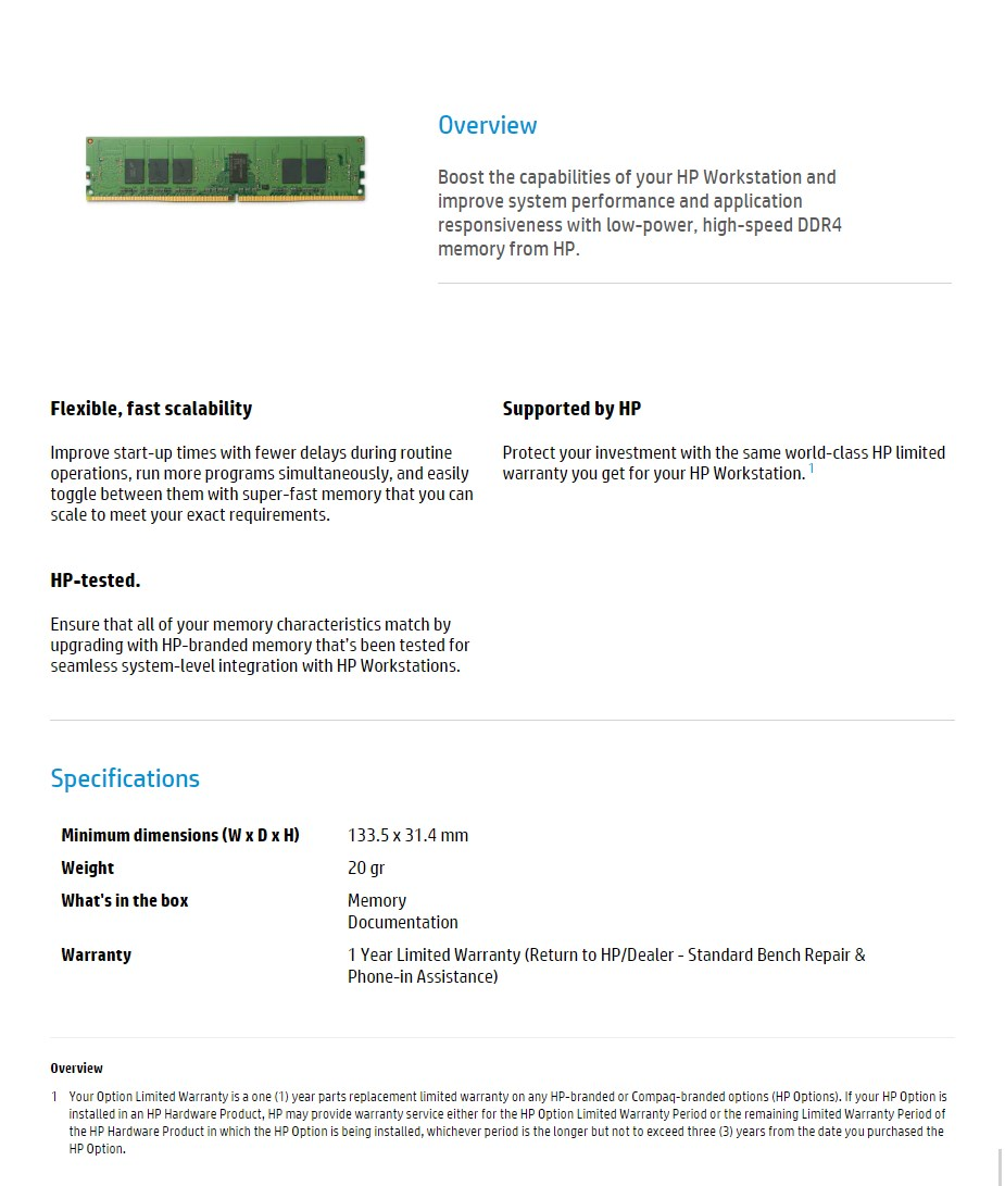 HP 4GB (1x 4GB) DDR4 2400MHz Non-ECC SO-DIMM Memory - Desktop Overview 1