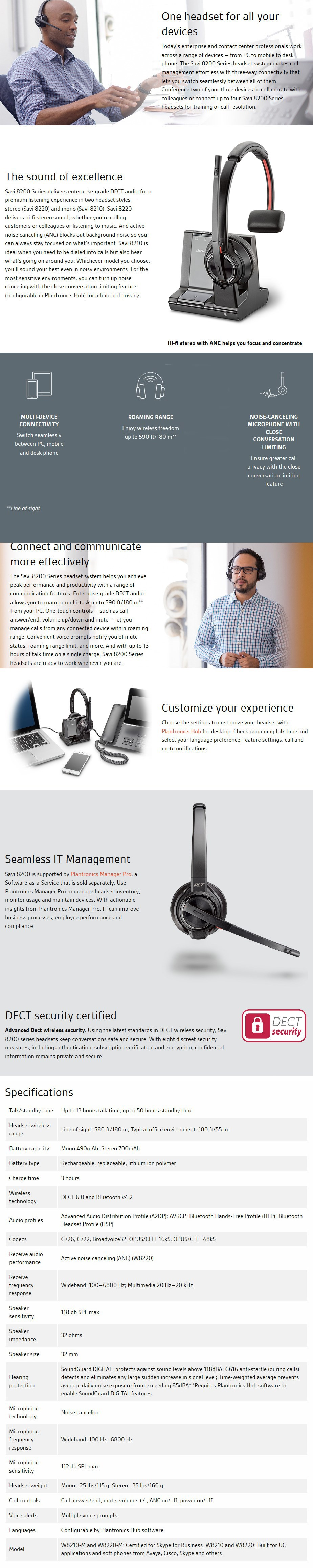 Plantronics Savi W8220 Stereo Wireless DECT Headset System - Desktop Overview 1