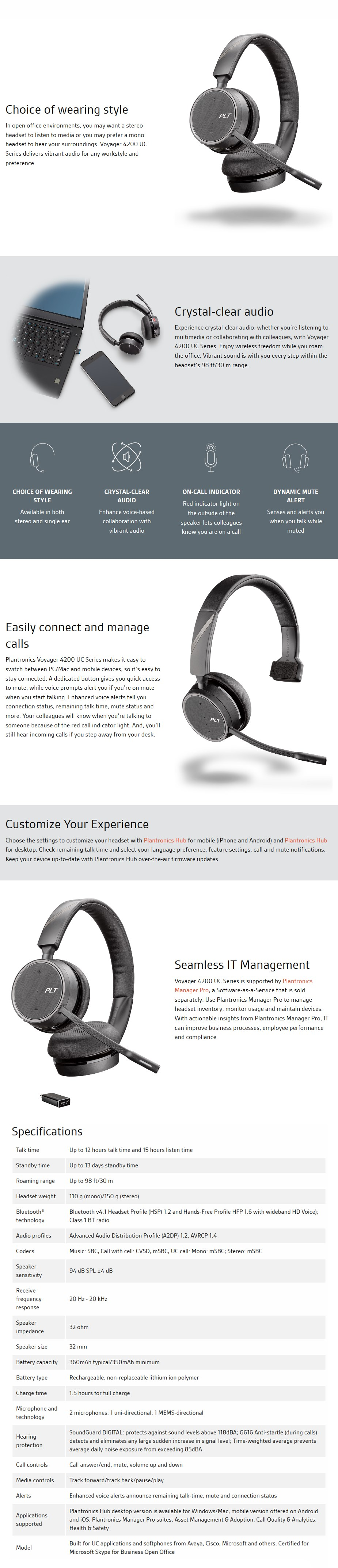 Plantronics Voyager 4220 USB-A Stereo Bluetooth Headset - Desktop Overview 1