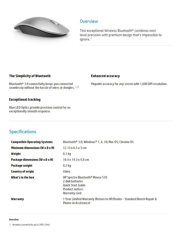 HP Spectre Bluetooth Mouse 500 - Silver - Desktop Overview 1