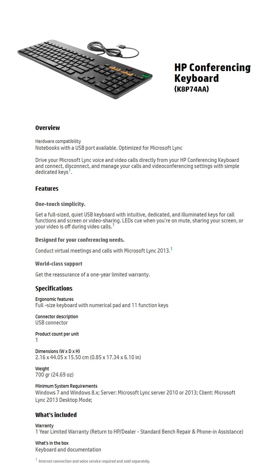 HP Conferencing Keyboard - K8P74AA - Desktop Overview 1