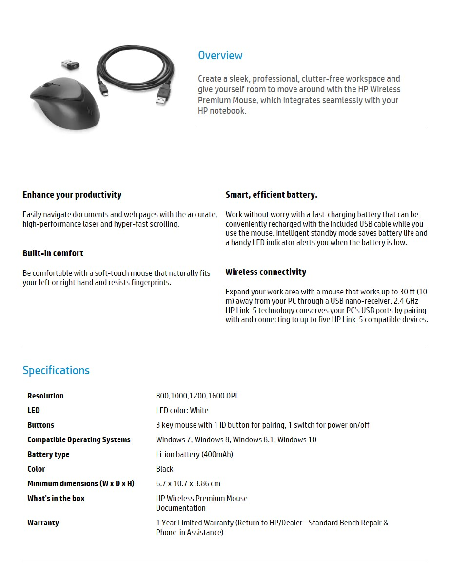 HP Wireless Premium Mouse - Desktop Overview 1
