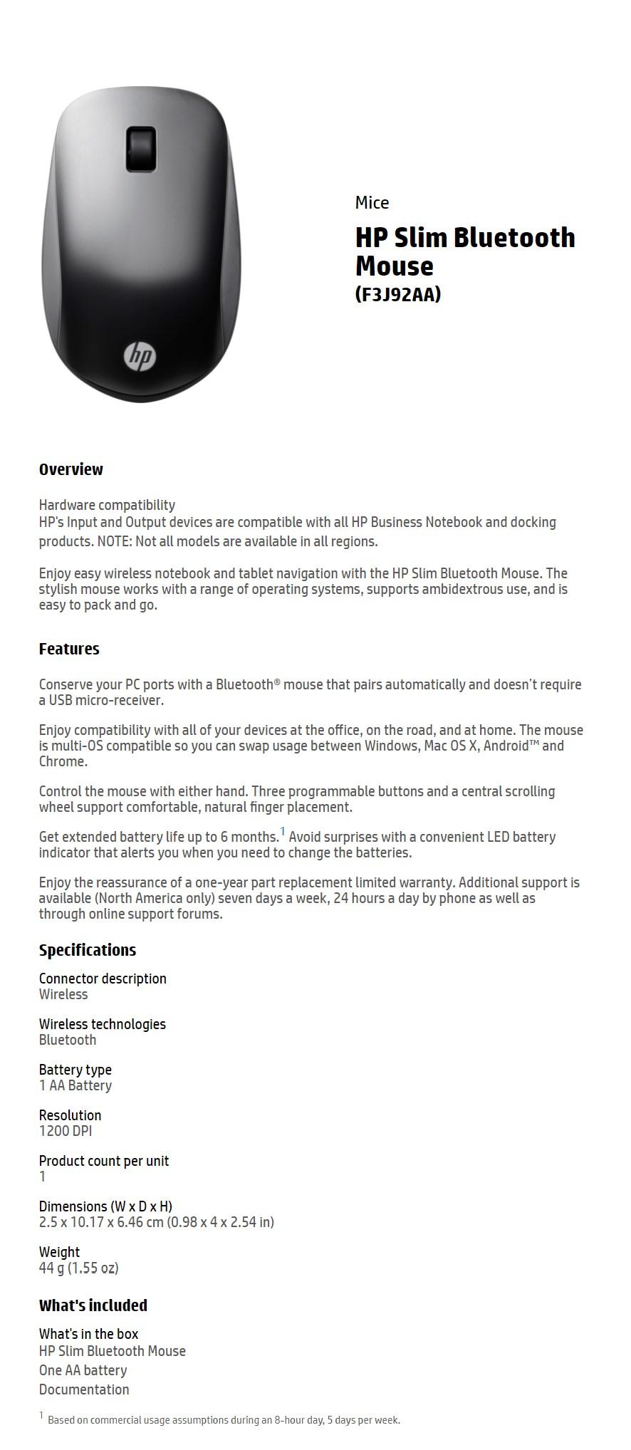 HP Slim Bluetooth Mouse - Desktop Overview 1