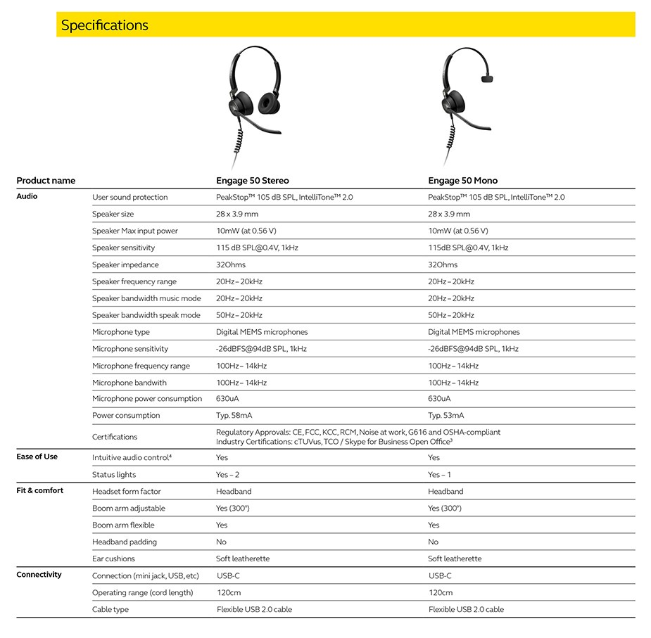 Jabra Engage 50 Stereo USB-C Headset - Desktop Overview 2
