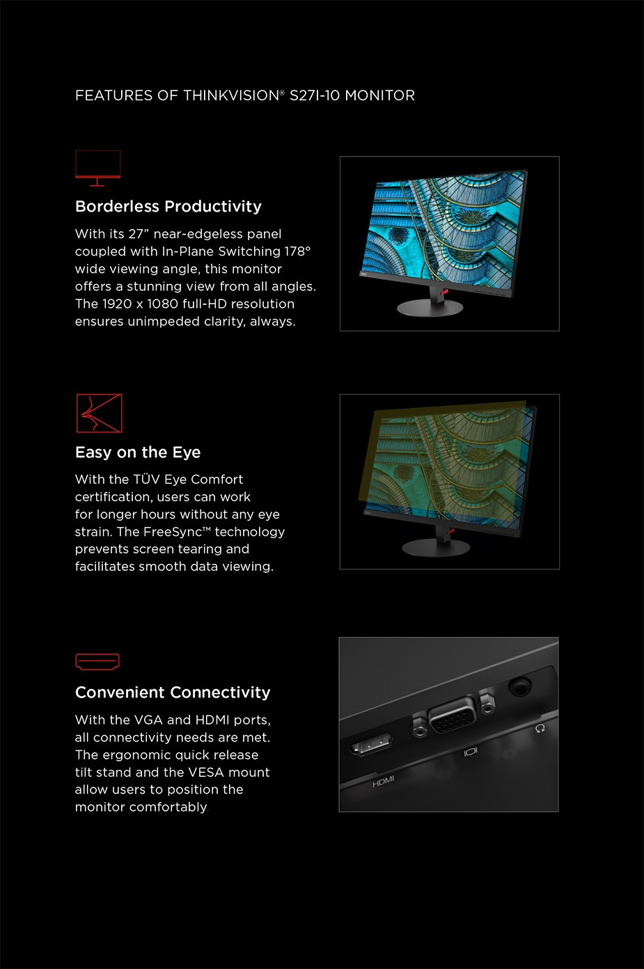 """Lenovo ThinkVision S27i-10 27"""" Full HD WLED IPS Monitor - Desktop Overview 2"""