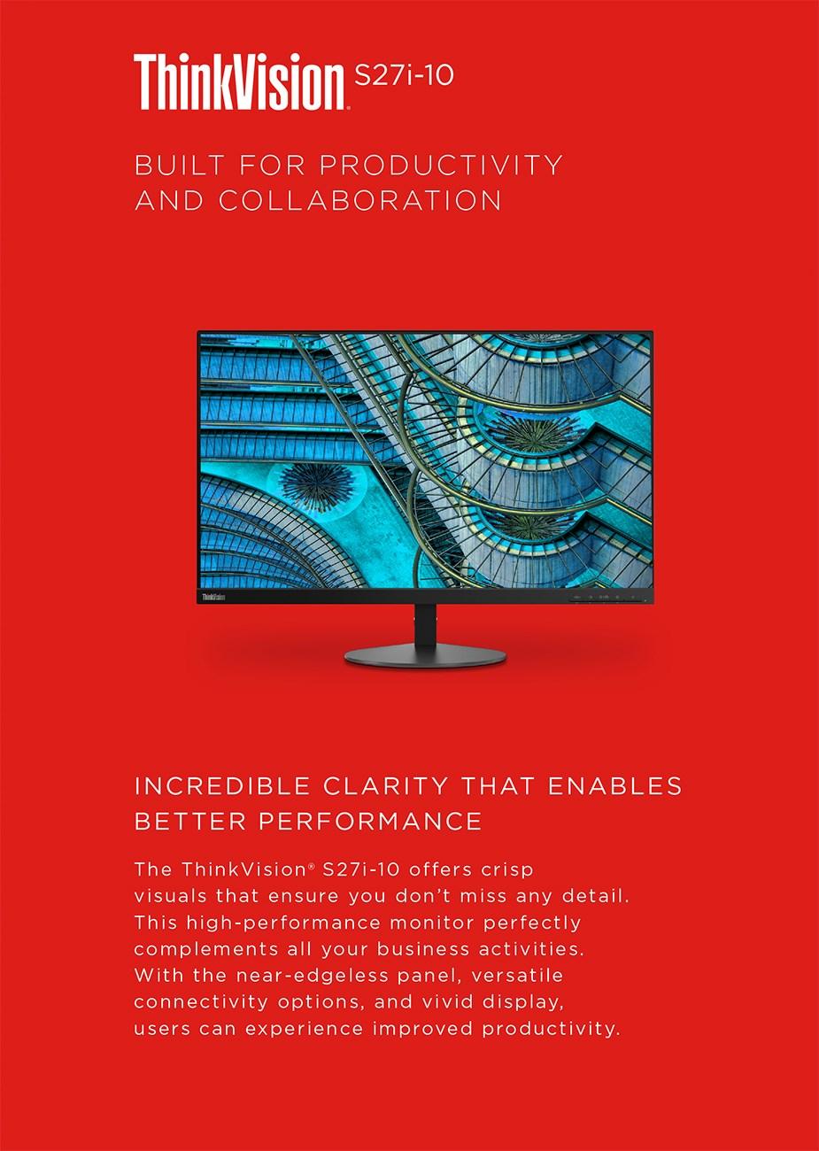 """Lenovo ThinkVision S27i-10 27"""" Full HD WLED IPS Monitor - Desktop Overview 1"""
