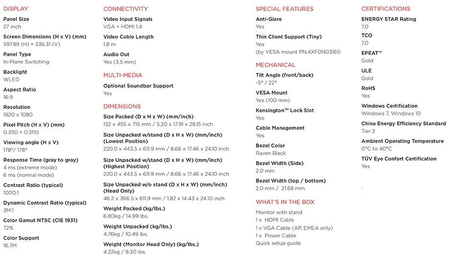 """Lenovo ThinkVision S27i-10 27"""" Full HD WLED IPS Monitor - Desktop Overview 3"""
