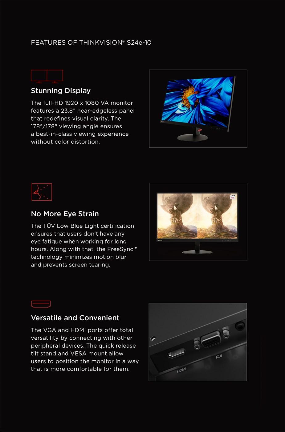 """Lenovo ThinkVison 24e-10 23.8"""" Full HD WLED VA Panel - Desktop Overview 2"""