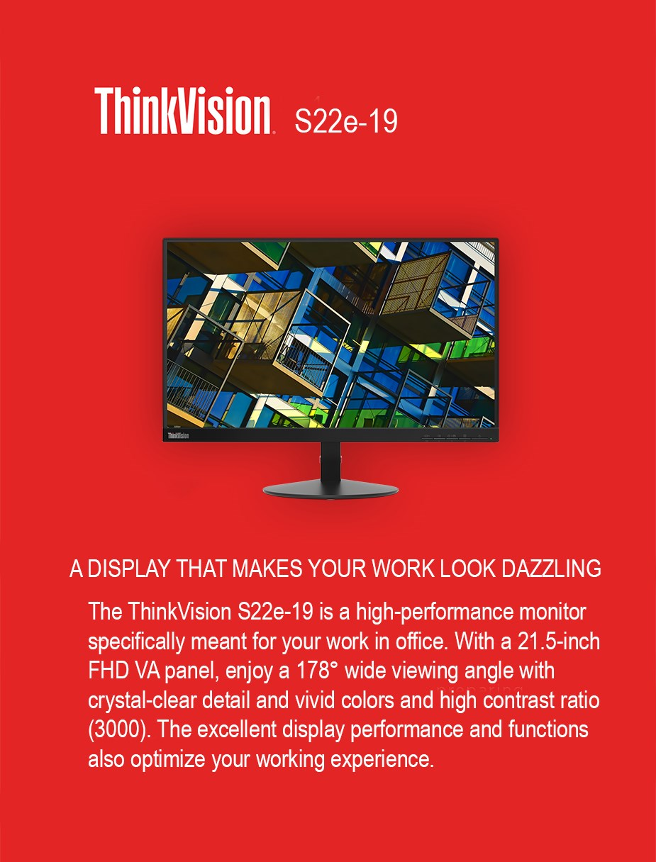 "Lenovo ThinkVision S22e-19 21.5"" Full HD VA Monitor - Desktop Overview 1"