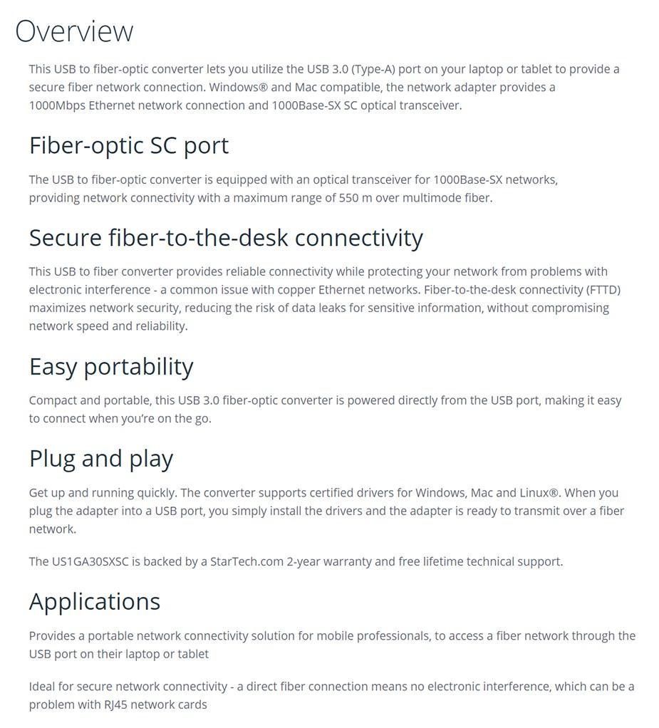 StarTech USB To Fiber Optic Converter - Desktop Overview 1