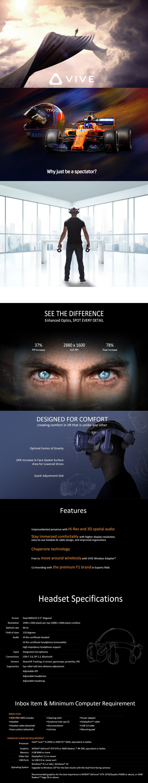 HTC Vive Pro Virtual Reality Full Headset Kit - McLaren Edition - Desktop Overview 2